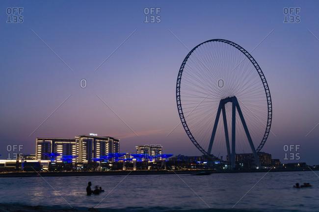 November 2, 2019: Night scene, the Eye of Dubai, Dubai, UAE