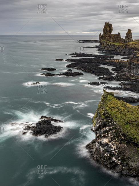 Volcanic rock formations, black sand beach, Snaefellsbaer, Vesturland, Iceland