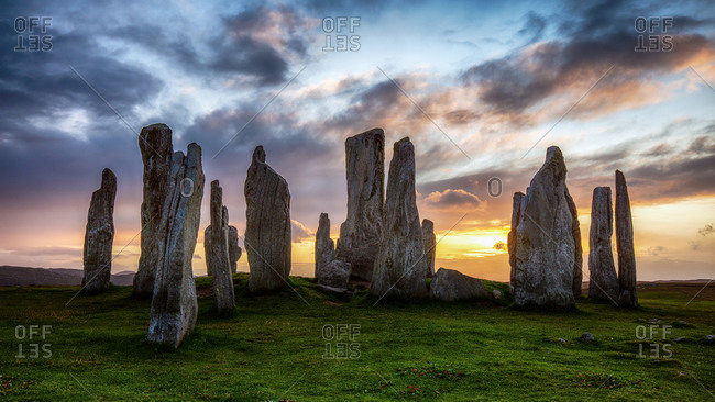 Sunset at the Callanish standing stones from the Western isles, Scotland