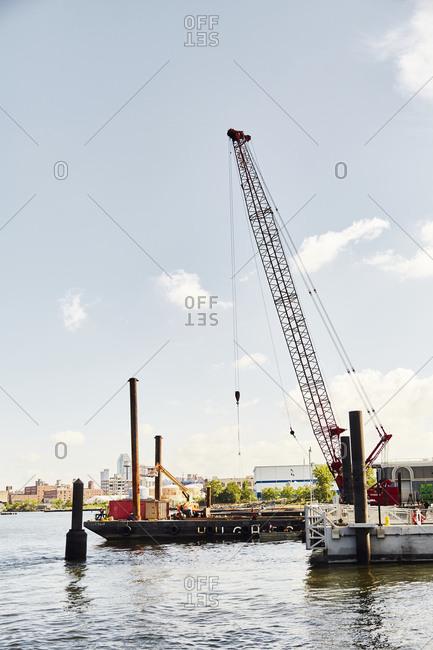 Brooklyn, New York - August 15, 2016: Crane at the Brooklyn Docks