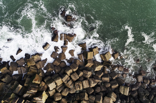 Aerial view over cinderblocks on the Basque Coast in France