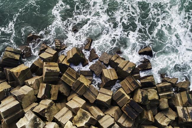 Bird's eye view over cinderblocks on the Basque Coast in France