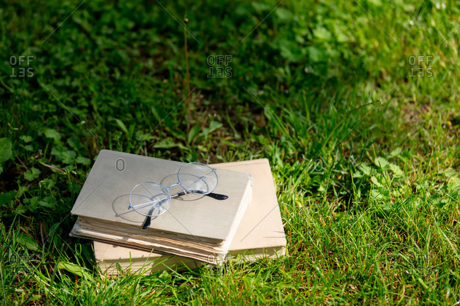 Vintage books and glasses on green grass in a spring time garden