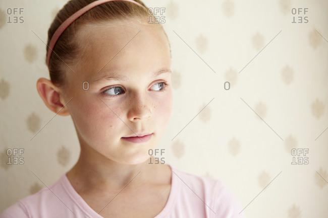 Portrait of girl looking around
