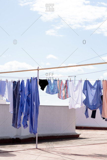 Laundry drying on roof top