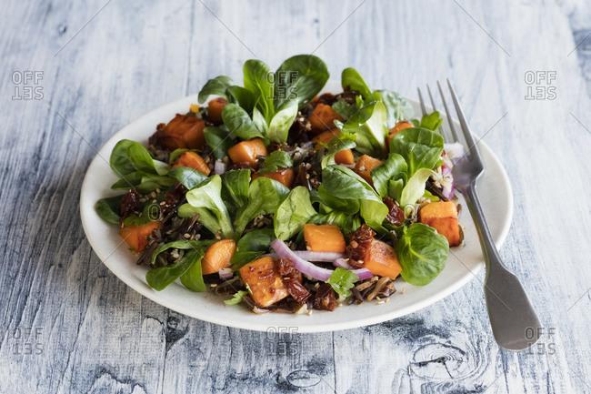 Plate of sweet potato salad with wild rice and corn salad