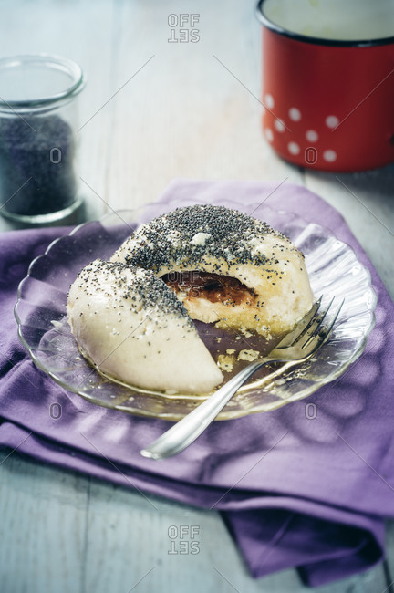 Plate with plum jam germknodel dumpling