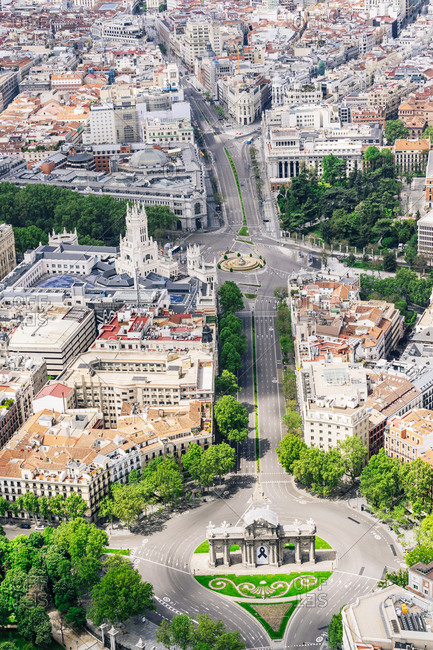 April 26, 2020: Spain- Madrid- Helicopter view of empty Plaza de la Independencia during COVID-19 outbreak