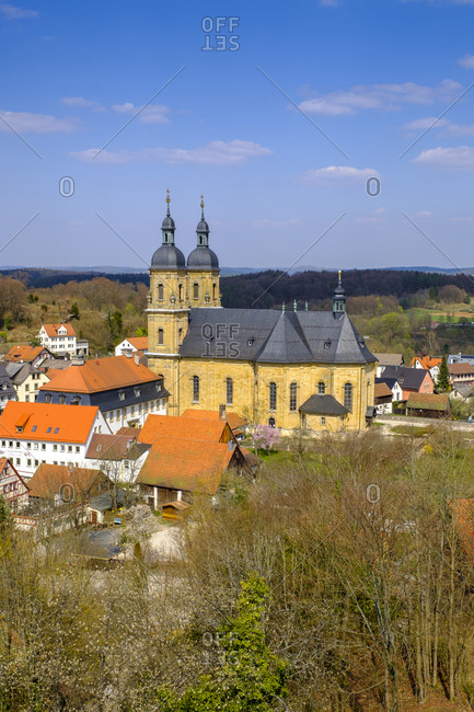 Germany- Bavaria- Gossweinstein- Pilgrimage Church of Holy Trinity and surrounding houses