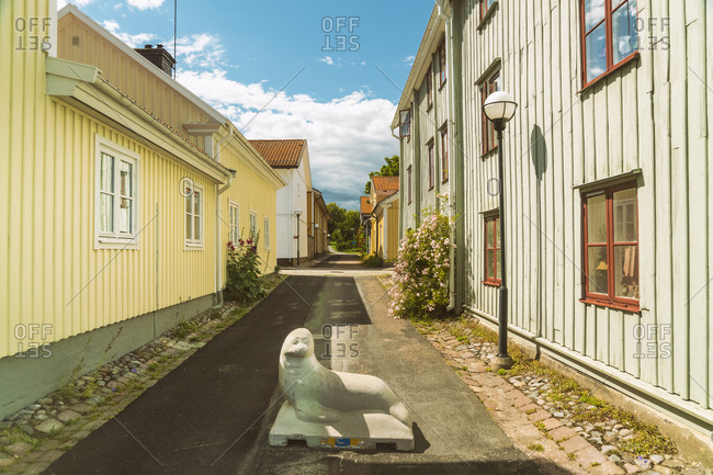 July 19, 2017: Sweden- Smaland- Vastervik- Seal sculpture in middle of empty town alley