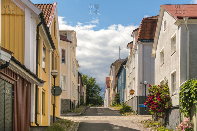 July 19, 2017: Sweden- Smaland- Vastervik- Empty town street on sunny day