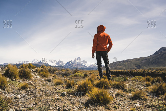 Hiker in remote landscape in Patagonia- Argentina