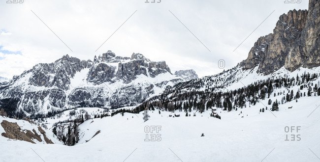 Italy- Trentino- Scenic panorama of snowcapped Sella Ronda massif