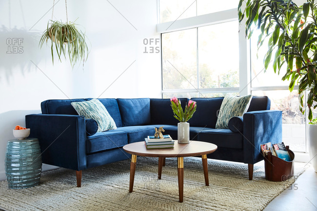 June 1, 2020: Blue velvet sectional sofa in modern living room with natural light