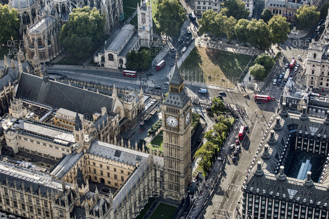 London, United Kingdom - May 29, 2020: Aerial view of Big Ben and Parliament Square in London, the Houses of Parliament.