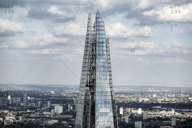Aerial view of The Shard, a tall glass clad tower landmark designed by Renzo Piano in London