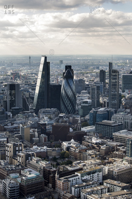 Aerial view of the Square Mile, the City of London financial center, with architectural landmarks.