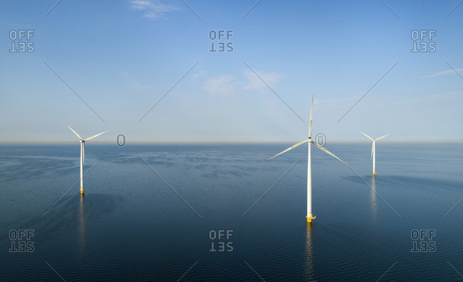 Wind turbines early in the morning, Flevoland, The Netherlands.