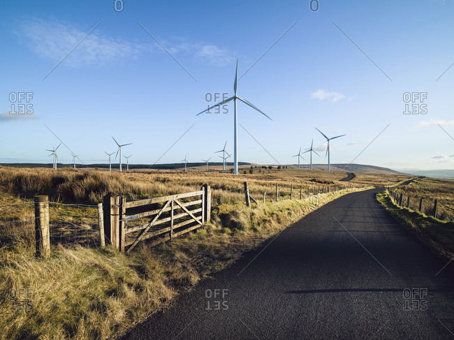 Wind turbines on a wind farm in rural Ulster, Northern Ireland.
