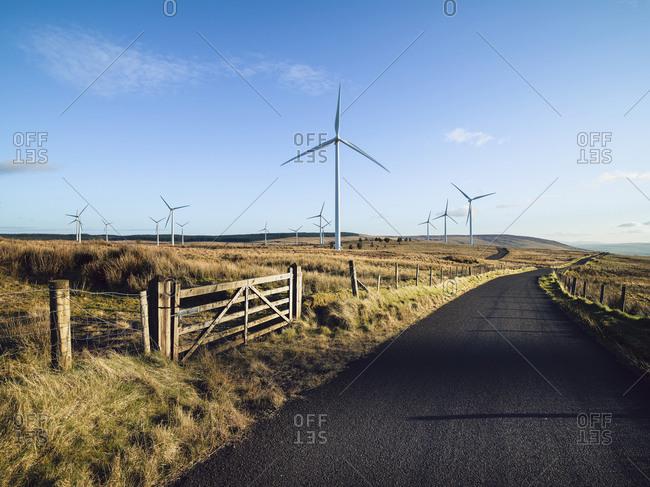 Wind turbines on a wind farm in rural Ulster, Northern Ireland.