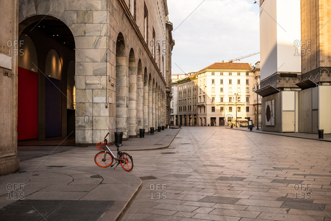 Empty streets in the city of Milan during the Corona Virus lockdown period