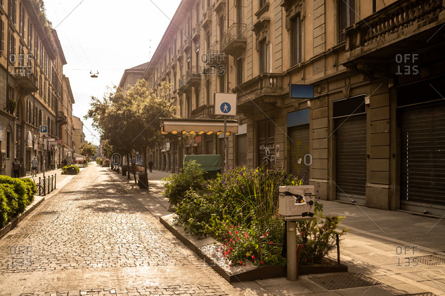 Milan, Italy - April 26, 2020: Empty streets in the city of Milan during the Corona Virus lockdown period
