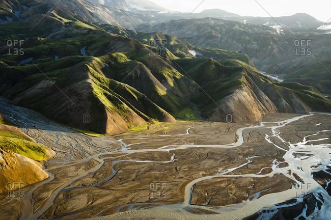 Aerial view, Rhyolite Mountains, Landmannalaugar, Fjallabak Nature Reserve, Highlands, Iceland, Europe