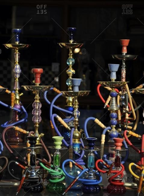 Water pipes, hookahs, for sale, Souq al Waqif, oldest souq or bazaar of Doha, Qatar, Persian Gulf, Middle East, Asia