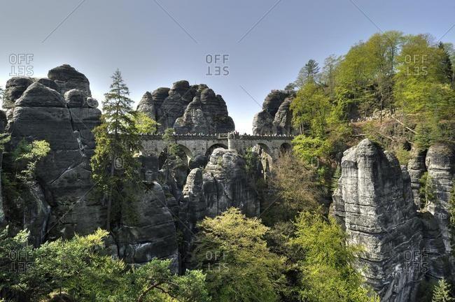 View on the Bastei rock formations, Saxon Switzerland, Elbsandsteingebirge Elbe Sandstone Mountains, Saxony, Germany, Europe
