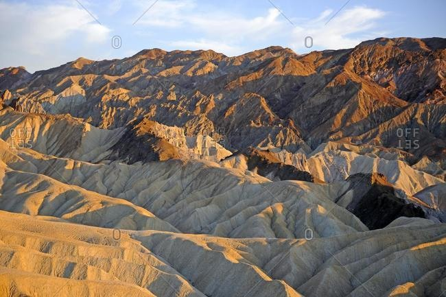 Rock formations on Zabriske Point in the evening light, Death Valley National Park, California, USA, North America