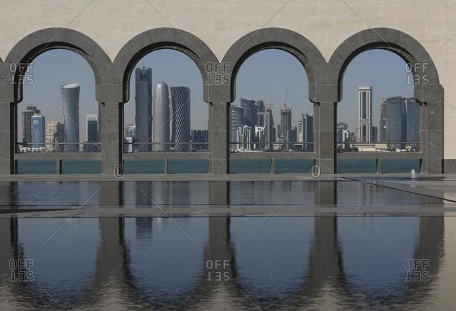May 21, 2020: Skyline, seen from the Museum of Islamic Art, MIA, Doha, Qatar, Middle East, Asia