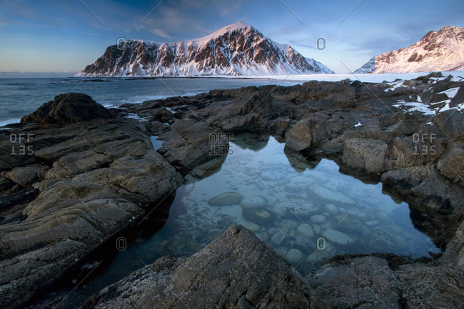 Evening mood at Skagsanden, the beach near Flakstad, Flakstadsoya, Lofoten, Nordland, Norway, Europe