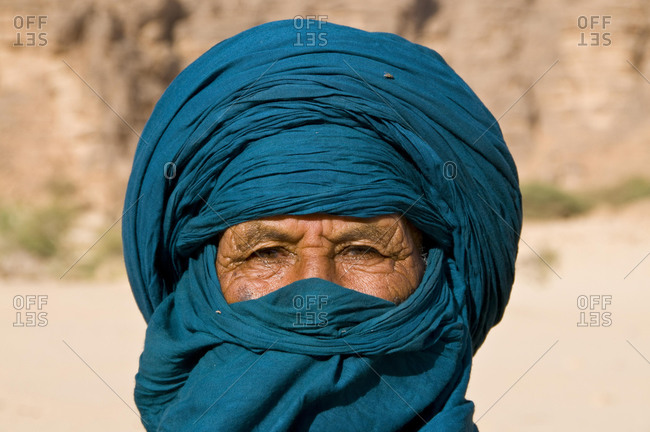 Portrait of a Tuareg man, Essendilene, Algeria, Africa