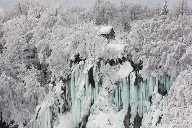 Frozen Waterfall, Plitvice Lakes National Park, Plitvice, Croatia, Europe