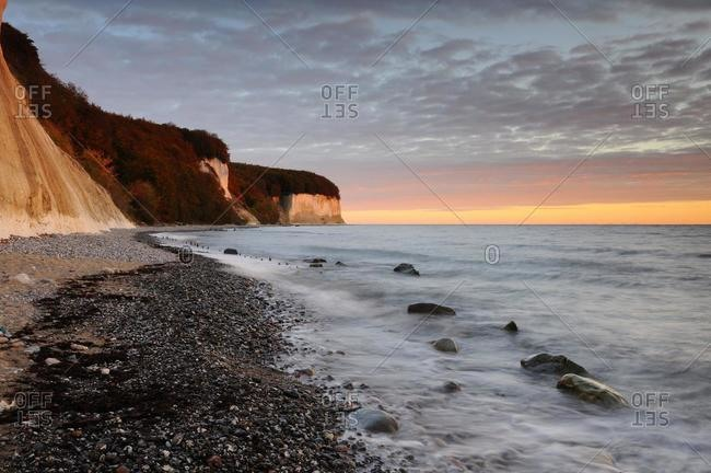 Sunrise on the coast in Jasmund National Park, Ruegen, Mecklenburg-Western Pomerania, Germany, Europe