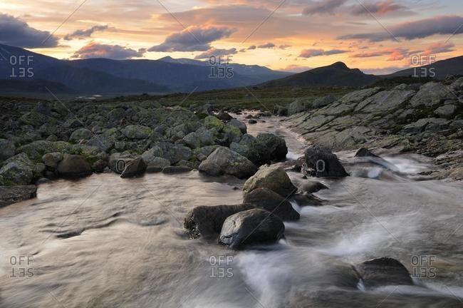 Leirungsdalen Valley, mountain landscape in Jotunheimen National Park, Norway, Scandinavia, Europe