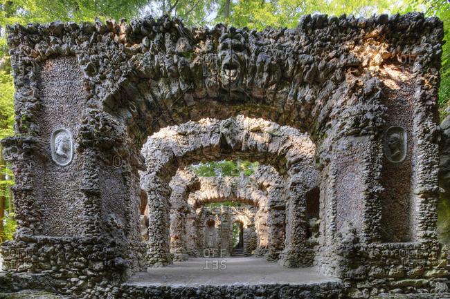 Stone theatre, theatre ruins, Sanspareil Rock Garden, Wonsees, Franconian Switzerland, Franconian Alb, Upper Franconia, Franconia, Bavaria, Germany, Europe