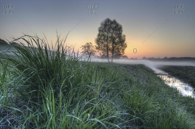 Morning mood at Hohenzieritz, Mecklenburg-Western Pomerania, Germany, Europe