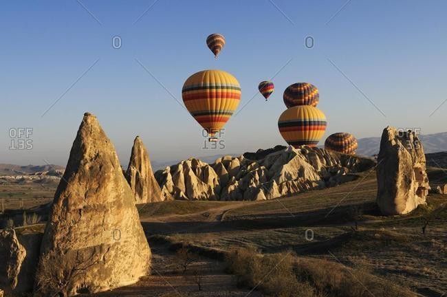 Hot air balloon flight over the Goreme valley, Cappadocia, Turkey, Asia