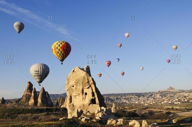 May 21, 2020: Balloon flight over the valley of Goereme, Cappadocia, Turkey, Western Asia, Asia