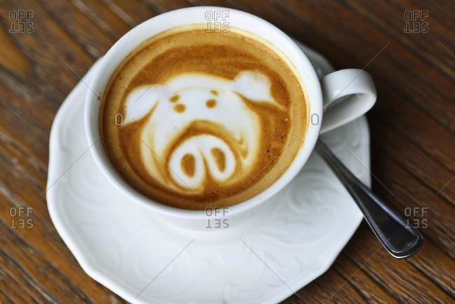Cappuccino, decorated with piglets