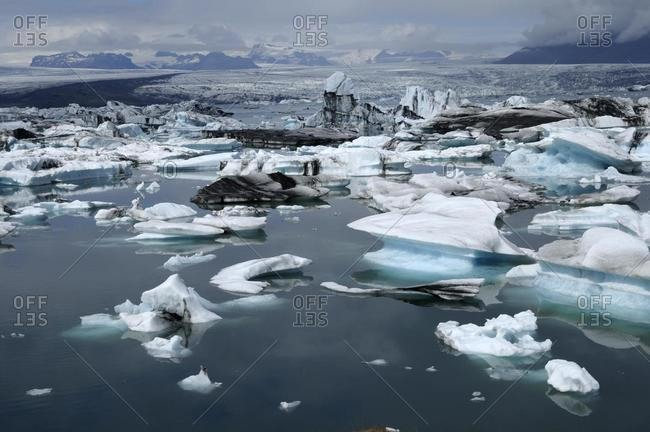 Icebergs in the Joekulsarlon glacial lake, Iceland, Europe