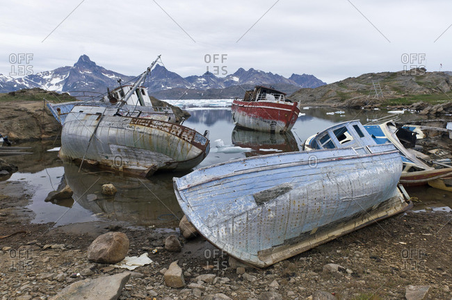 Old boats, Tasiilaq, also known as Ammassalik, East Greenland, Greenland, North America