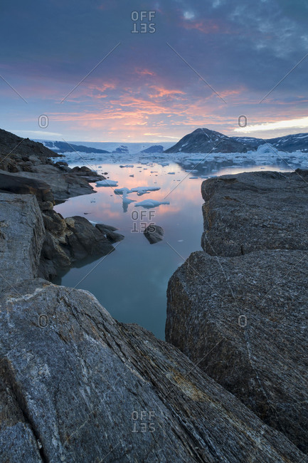 View of the continental ice sheet, Johan Petersen Fjord, East Greenland, Greenland, North America