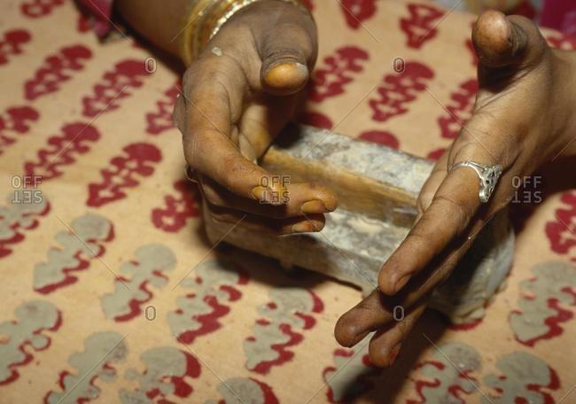 Printing of cloth in Sarwas in Jodhpur, Rajasthan, India, Asia