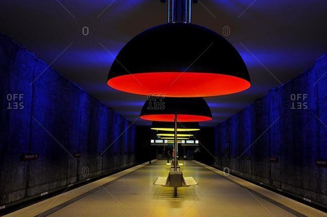 May 21, 2020: U-Bahn metro station in Munich, Bavaria, Germany, Europe