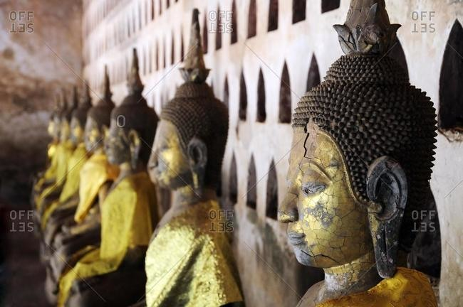Many antique Buddhas in an ancient temple, Wat Sisaket, Vientiane, Laos, Southeast Asia, Asia