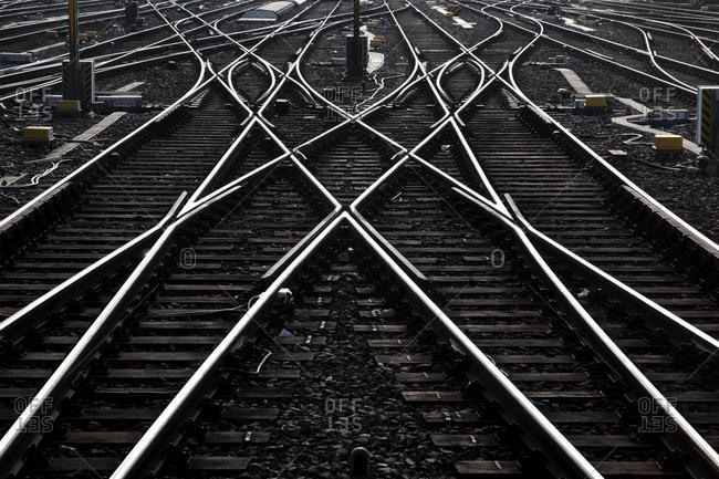 Railway tracks and switches or turnouts of the Deutsche Bahn AG at Frankfurter Hauptbahnhof, Frankfurt's main railway station, Frankfurt am Main, Hesse, Germany, Europe *** IMPORTANT: Restriction: Book Cover, worldwide, perpetual ***