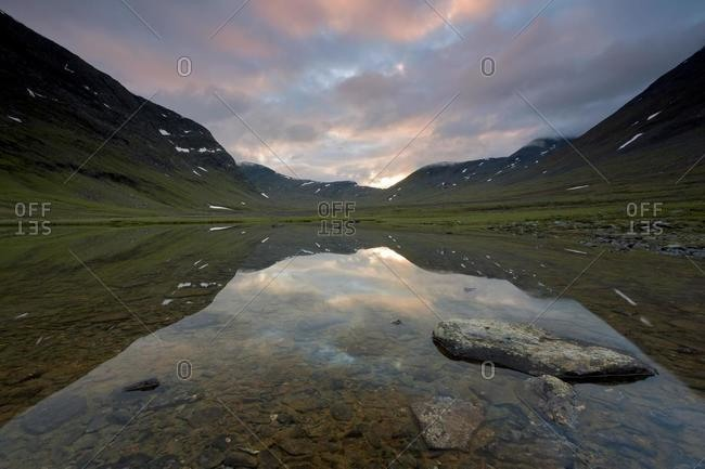 Evening in the Fjaell Mountains below the Tjaekta Pass on Kungsleden, The King's Trail, Lapland, Sweden, Europe