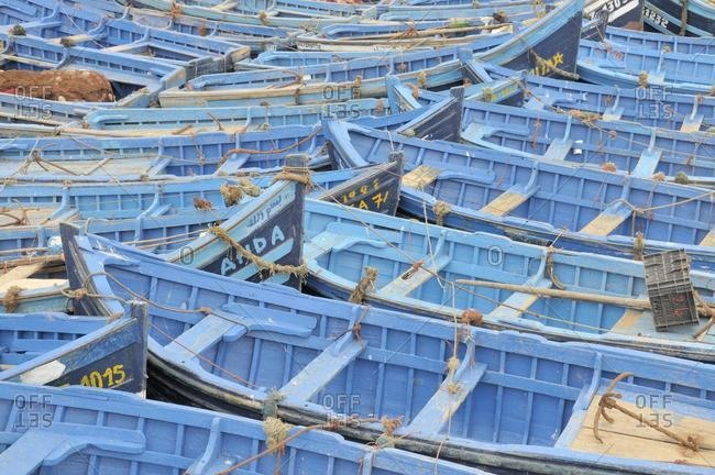 May 21, 2020: Blue fishing boats in the harbour, Essaouira, Morocco, Africa